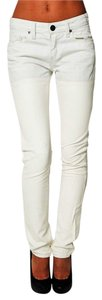 BCBGeneration Vegan Leather-denim Ankle Thigh High Skinny Pants Off white