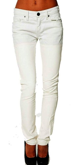 BCBGeneration Vegan Leather-denim Ankle Thigh High Skinny Pants Off white Image 2