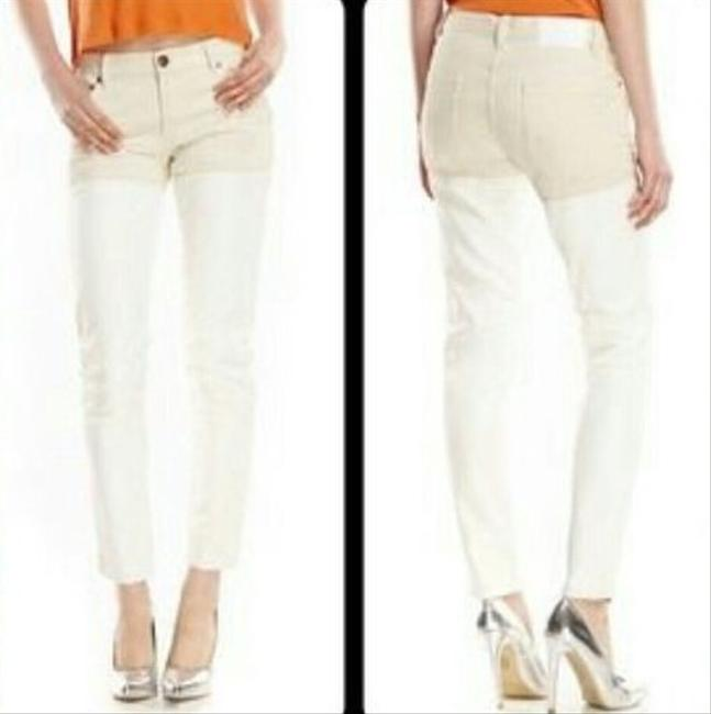 BCBGeneration Vegan Leather-denim Ankle Thigh High Skinny Pants Off white Image 7