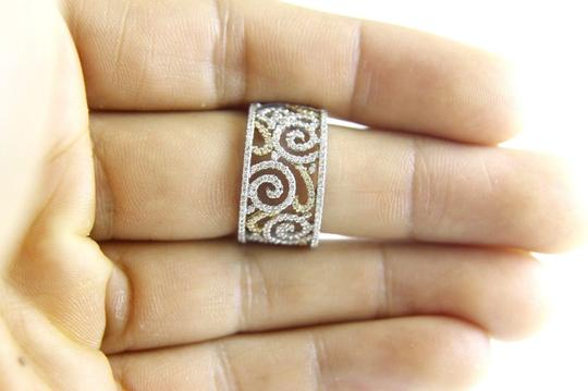 Other Curvy Diamond Filigree Cluster Lady's Ring Band 14k White Gold .65Ct
