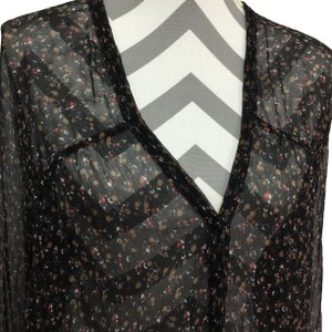 Dallin Chase Silk Sheer Pleats Top Black Floral - item med img