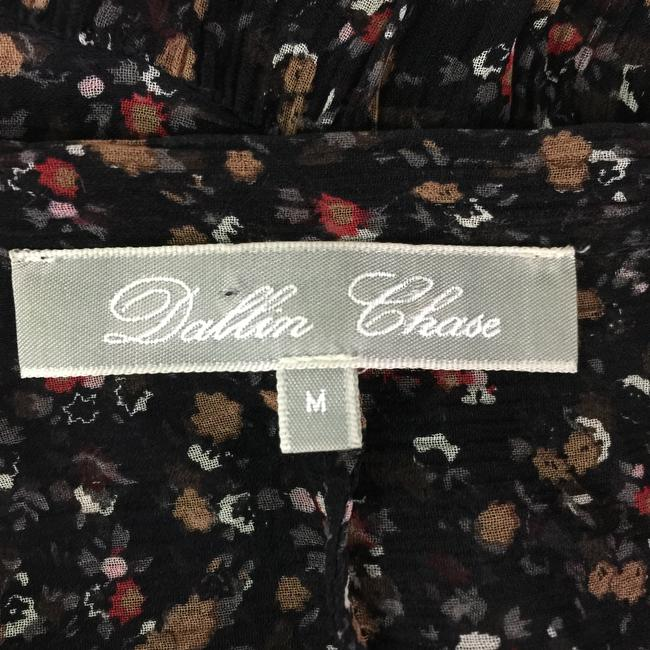 Dallin Chase Silk Sheer Pleats Top Black Floral