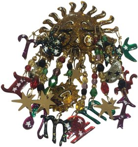 Lunch At The ritz Vintage enamel Sun & Zodiac lunch at the Ritz brooch pin - item med img