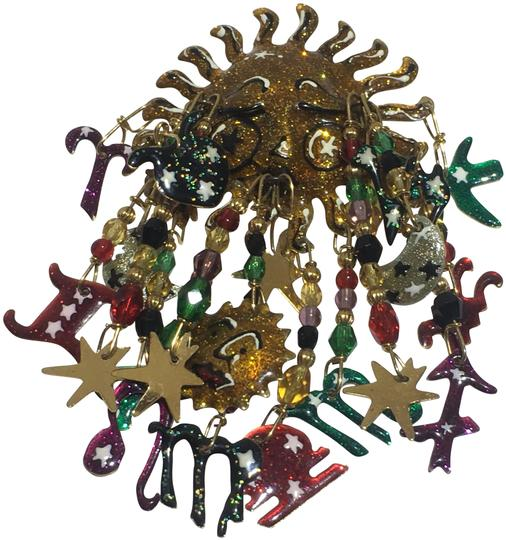 Preload https://img-static.tradesy.com/item/24297721/gold-vintage-enamel-sun-and-zodiac-brooch-pin-0-3-540-540.jpg