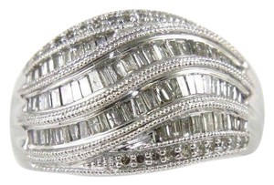 Other Fancy Baguette Cut Diamond Lady's Curve Cluster Ring Band 14k WG .90Ct