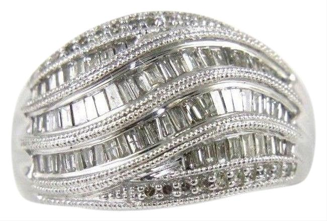 White & Silver Fancy Baguette Cut Diamond Lady's Curve Cluster Band 14k Wg .90ct Ring White & Silver Fancy Baguette Cut Diamond Lady's Curve Cluster Band 14k Wg .90ct Ring Image 1