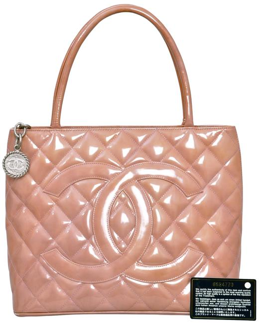 """Item - Medallion 13"""" Inch Quilted Tote A01804 Lilac Purple Rose Gold Patent Leather Satchel"""