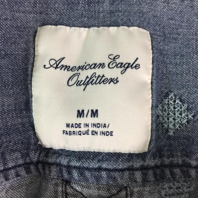 American Eagle Outfitters Denim Shirt Embroidered Shirt Button Down Shirt Blue