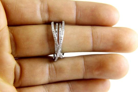 Other Round Diamond Bypass Criss Cross Lady's Ring Band 14k White Gold .96Ct