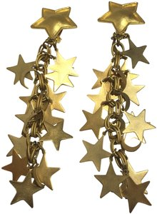 Vintage Vintage 1980's Gold Star & Moon Dangle Earrings
