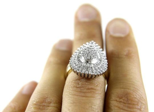 Other Round & Baguette Diamond Pear Cluster Lady's Ring 10k YG 1.22Ct