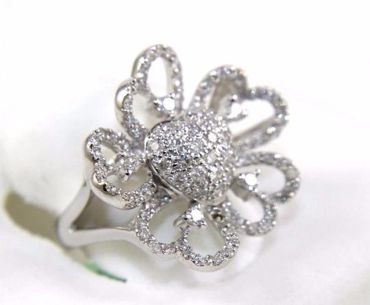 Other Pave Cluster Heart Solitaire Filigree Diamond Ring 14k WG 1.00Ct