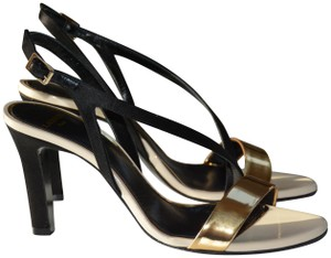 Lanvin Leather Italian 85mm Black, Gold, White Sandals