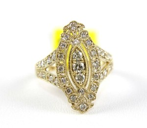 Other Round Diamond Marquise Shape Pave Cluster Ring 14k Yellow Gold .75Ct
