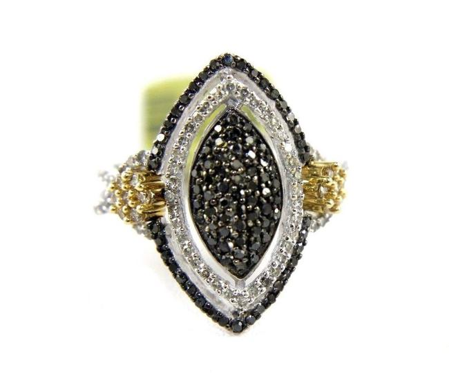 Black & Yellow & Silver Marquise Shape Diamond Pave Cluster 14k White Gold .76ct Ring Black & Yellow & Silver Marquise Shape Diamond Pave Cluster 14k White Gold .76ct Ring Image 1