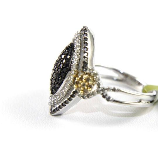 Other Marquise Shape Black Diamond Pave Cluster Ring 14k White Gold .76Ct
