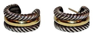 David Yurman $450 David Yurman Silver 14K Gold 925 Cable Collectibles Hoop Earrings