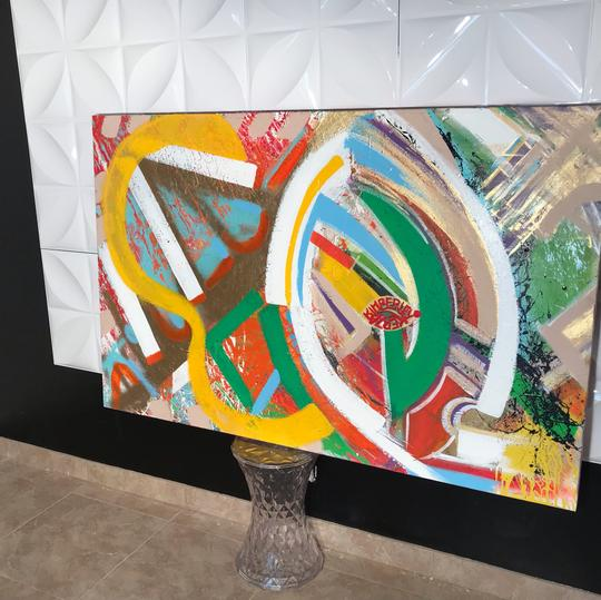 Kimberley KERZA Abstract Art - Palm Springs African Inspired Acrylic Painting