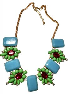 New Green Blue Pink Crystal Gold Chain Bib Necklace Adjustable Length J832