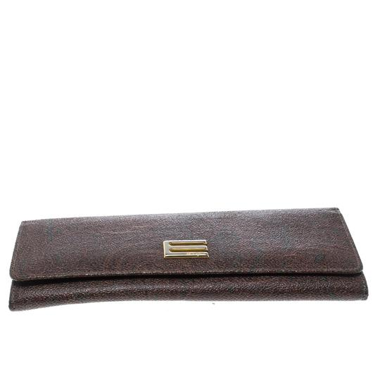 Etro Brown Paisley Printed Coated Canvas Continental Wallet