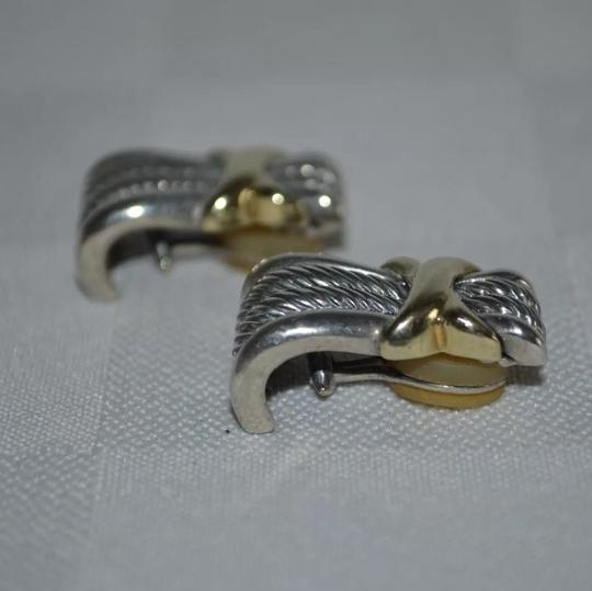 David Yurman David Yurman Silver 14K Gold 925 Cable Collectibles Crossover X Earrings