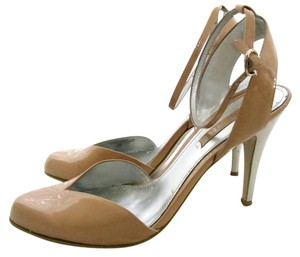 Nine West Ankle Strap Patent Leather Silver Heels Tan Pumps