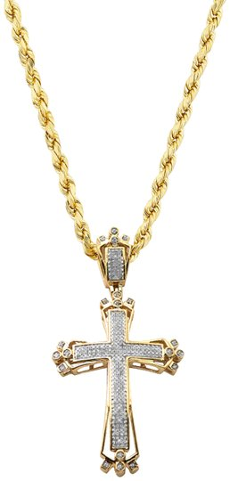 Preload https://img-static.tradesy.com/item/24298004/yellow-gold-10k-12ct-fancy-diamond-cross-pendant-10k-24-rope-chain-necklace-0-3-540-540.jpg