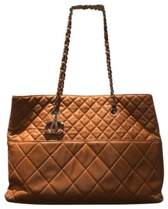 Chanel Caviar Leather Silver Hardware Quilted Tote in Camel