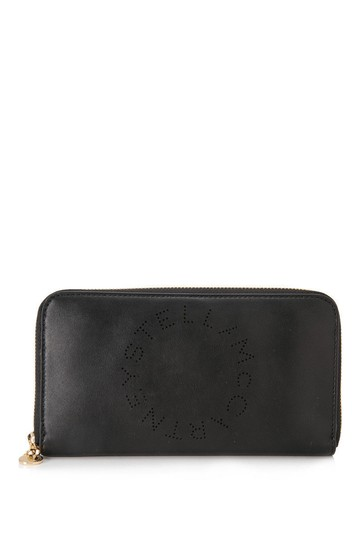 Preload https://img-static.tradesy.com/item/24298022/stella-mccartney-logo-long-zip-around-black-faux-leather-wallet-0-0-540-540.jpg