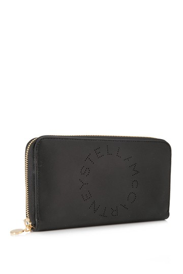 Stella McCartney Stella McCartney Stella Logo Long Zip Around Wallet Black Faux Leather