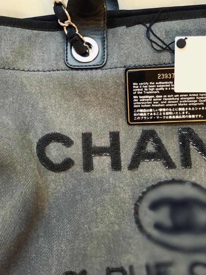 b1c5d12943c Chanel Deauville Limited Edition Large Sequin Tote Charcoal Canvas ...