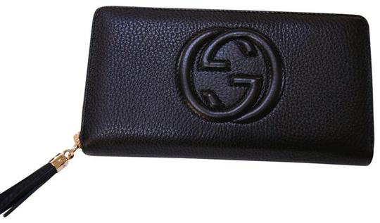 Gucci Authentic Gucci Soho Black Leather Zip Around Wallet Clutch
