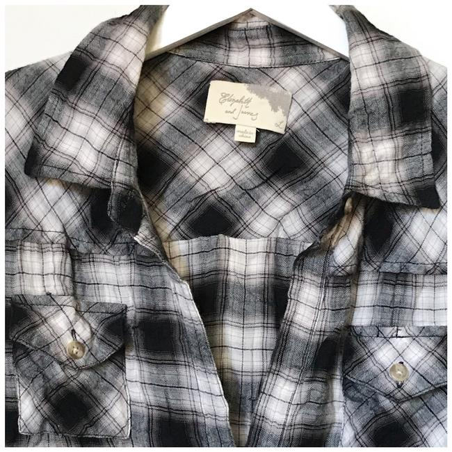 Elizabeth and James Plaid Button Down Shirt black and white