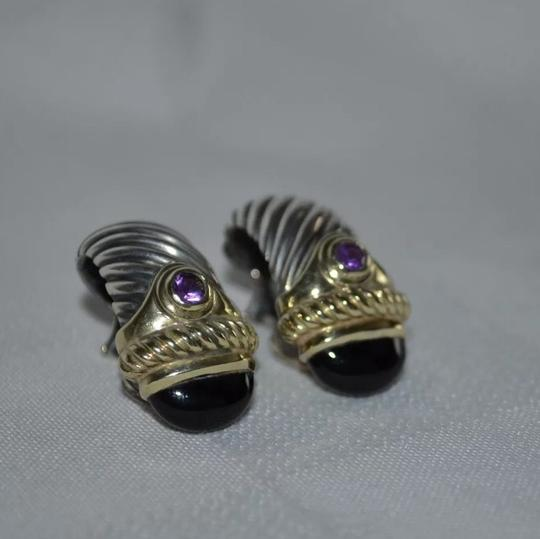 David Yurman $875 David Yurman Silver 14K Gold 925 Cable Renaissance Amethyst Clip On Earring