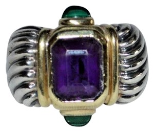 David Yurman Size 6 David Yurman Silver 14K Gold 925 Cable Renaissance Amethyst Green Ring