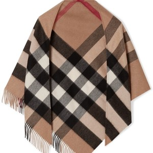 Burberry Fringed Checked Cashmere Scarf/Wrap