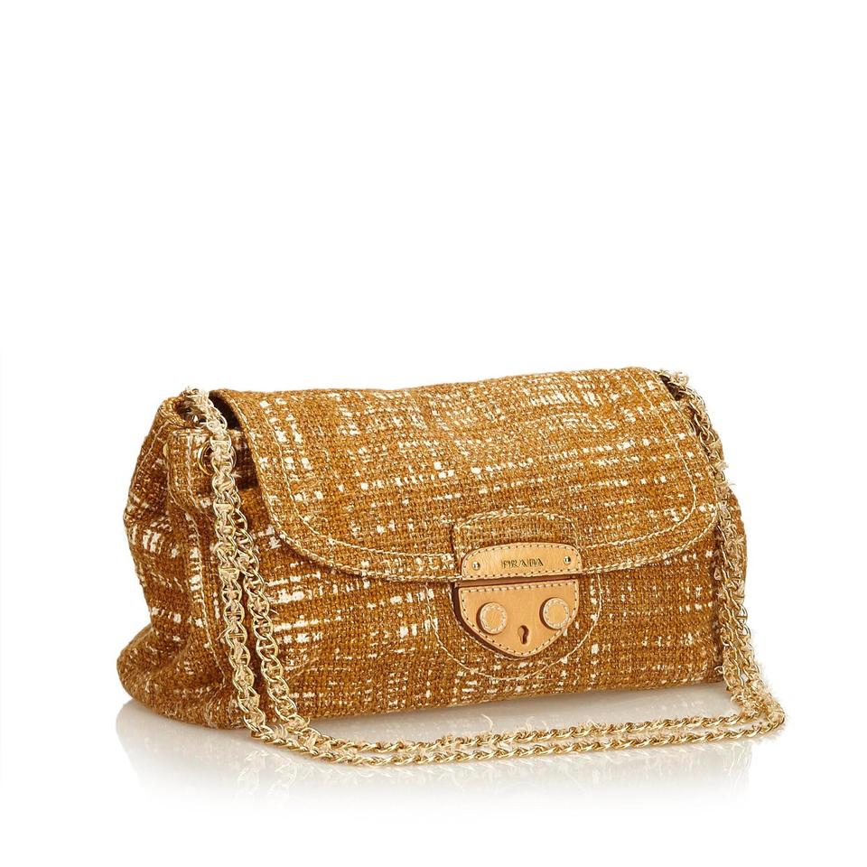 6b803a3952 Prada Chain Brown Fabric X Cotton X Fabric X Tweed Shoulder Bag ...
