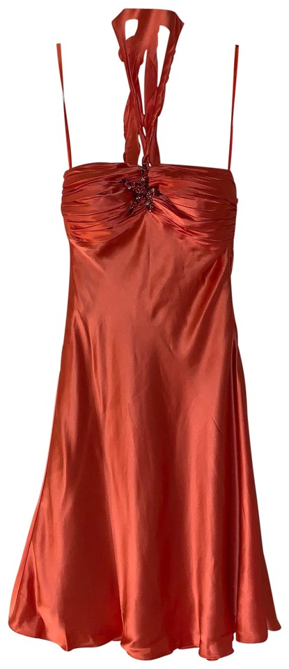83ac5137 Cache Orange Silk Halter Mid-length Cocktail Dress Size 2 (XS) - Tradesy