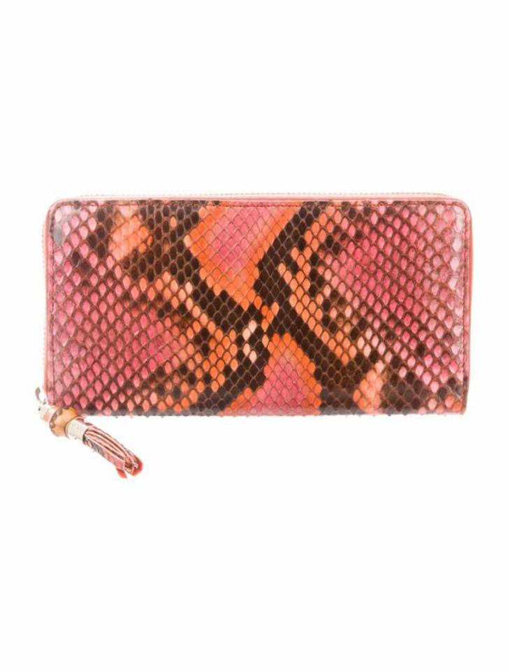 d1af2e91727263 Gucci Pink Brown and Orange Bamboo Python Tassel Wallet - Tradesy