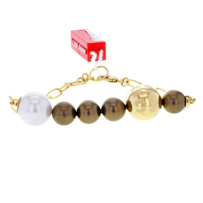 Item - Gold Collana Collection Stainless Steel Faux Pearl Ladies Bracelet