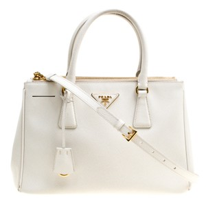 Prada Double Lux Saffiano Medium Zip White Leather Tote - Tradesy abe8e772b7d9c