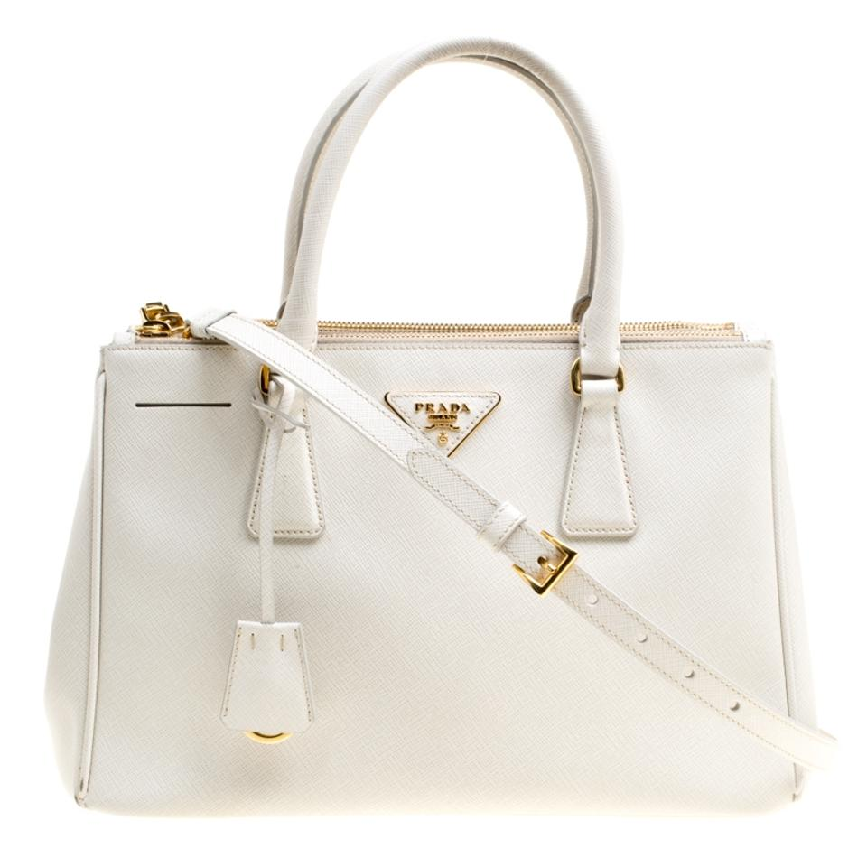1314cbaef7c6 Prada Double Lux Saffiano Medium Zip White Leather Tote - Tradesy