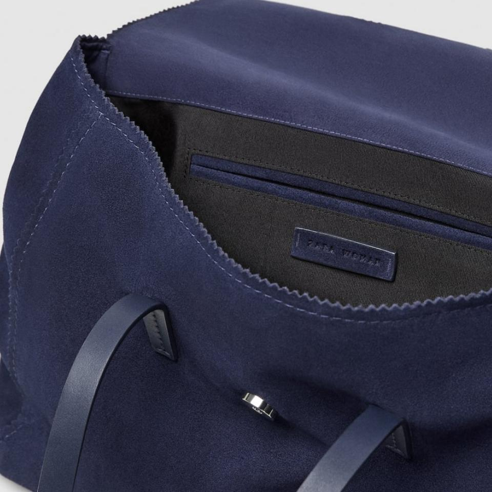 eb9748a0a67 Zara City with Handkerchief Details Blue Leather Hand Suede Shoulder ...