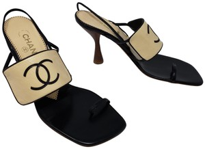 Chanel Interlocking Cc Logo Ankle Strap Peep Toe Gold Hardware Beige Sandals