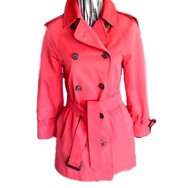 Item - Red Double Breasted Trench Jacket Size 6 (S)