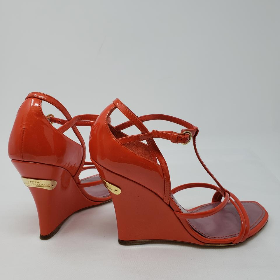 80541a82282 Louis Vuitton Red Patent Leather T-strap Sandals Size EU 35 (Approx. US 5)  Regular (M, B) 60% off retail