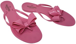 Valentino Jelly Bow Rockstud Lace Gold Hardware Pink Sandals
