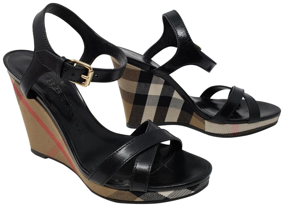 57ad8ce255d Burberry Ankle Strap Nova Check Gold Hardware Silver Hardware House Check  Black Wedges Image 0 ...