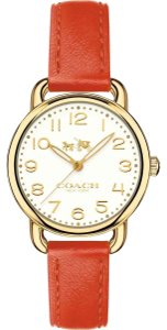 Coach Coach Women's Delancey Gold Case Red Leather Strap Watch 28mm