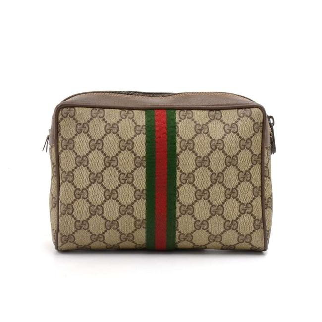 Item - Beige Vintage Collection Gg Supreme Canvas Pouch Cosmetic Bag